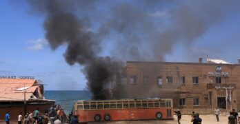 A coffee shop at the edge of the Gaza Strip was targeted by an Israeli aircraft on Monday